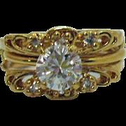 Fun Versatile Vintage Solitaire Ring Guards Cubic Zirconia Ring Set Size 10