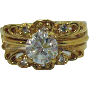 Fun Versatile Vintage Solitaire Ring Guards Cubic Zirconia Ring Set Size 10