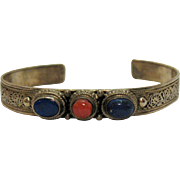 Vintage Signed Bali Sterling Silver Lapis Coral Scroll Cuff Bracelet