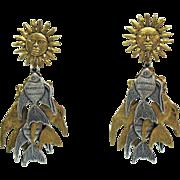 Fabulous Vintage Signed La Contessa Mary DeMarco Fish Sun Pierced Dangle Earrings