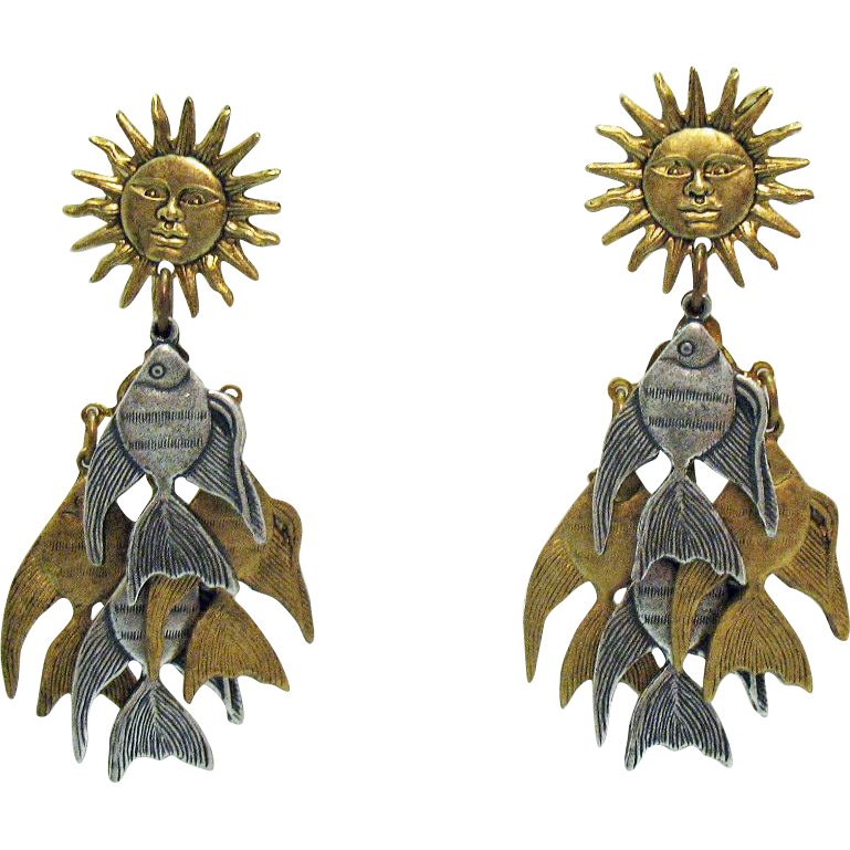 Fabulous Vintage Signed La Contessa Mary DeMarco Fish Sun Pierced Dangle Earrings