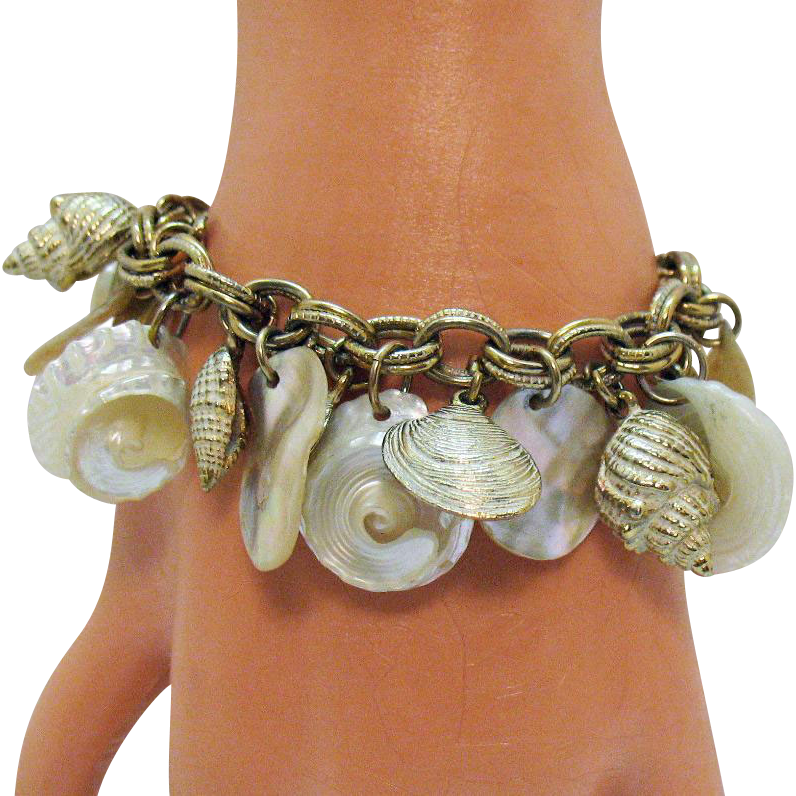 Awesome Vintage Sea Shell Enameled Abalone Shell Metal Charm Bracelet