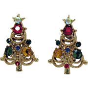 Vintage Signed Pakula Rhinestone Christmas Tree Clip Earrings