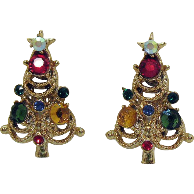 Vintage Signed Pakula Rhinestone Christmas Tree Clip Earrings