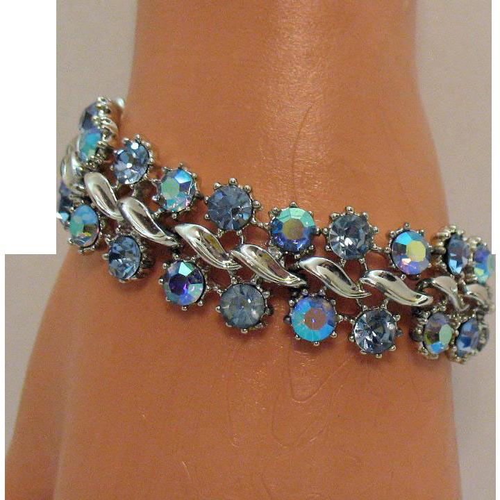 Super Sparkly Signed BSK Vintage Aurora Borealis Rhinestone Bracelet