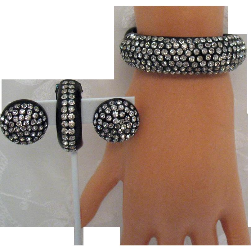 Art Deco Vintage Thermoplastic Rhinestone Bracelet Fur Clip Earrings Set