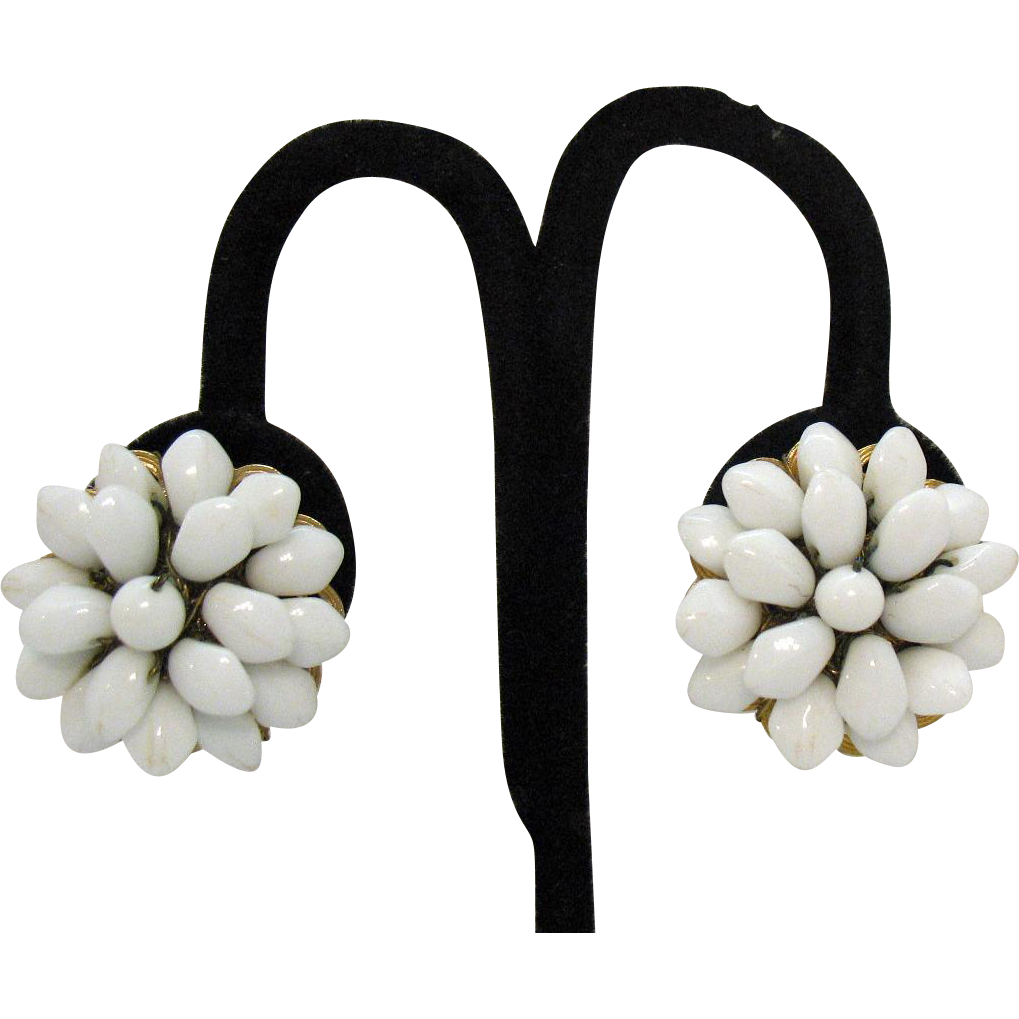 Signed Hobe Vintage White Glass Floral Clip Earrings