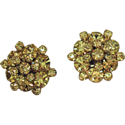 Amazing Vintage Unsigned Weiss Lemon Yellow Piggyback Rhinestone Clip Earrings