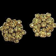 Amazing Vintage Unsigned Weiss Lemon Yellow Piggyback Rhinestone Clip Earrings