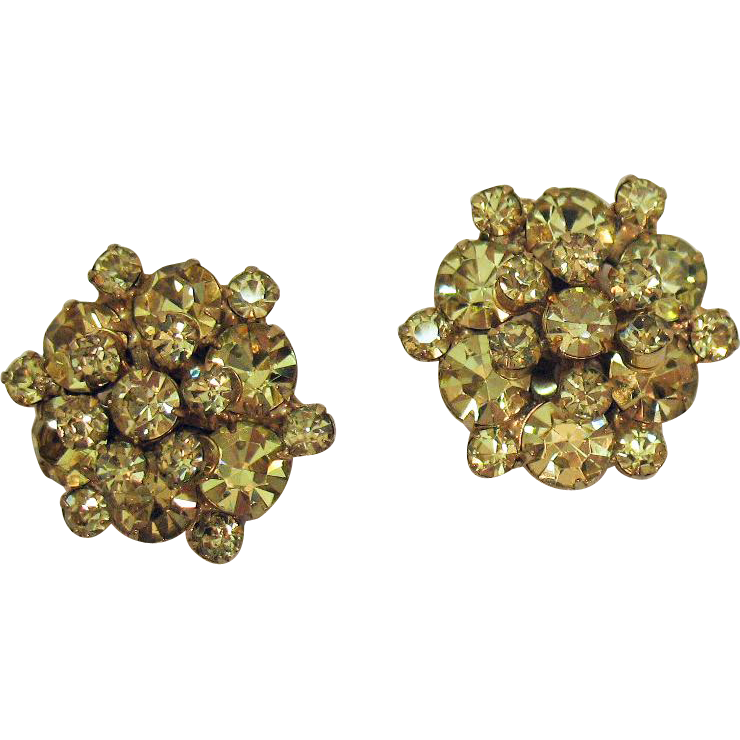 Amazing Vintage Unsigned Weiss Lemon YellowTiered Rhinestone Clip Earrings