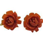 Gorgeous Vintage Celluloid Faux Coral Rose Screw Back Earrings