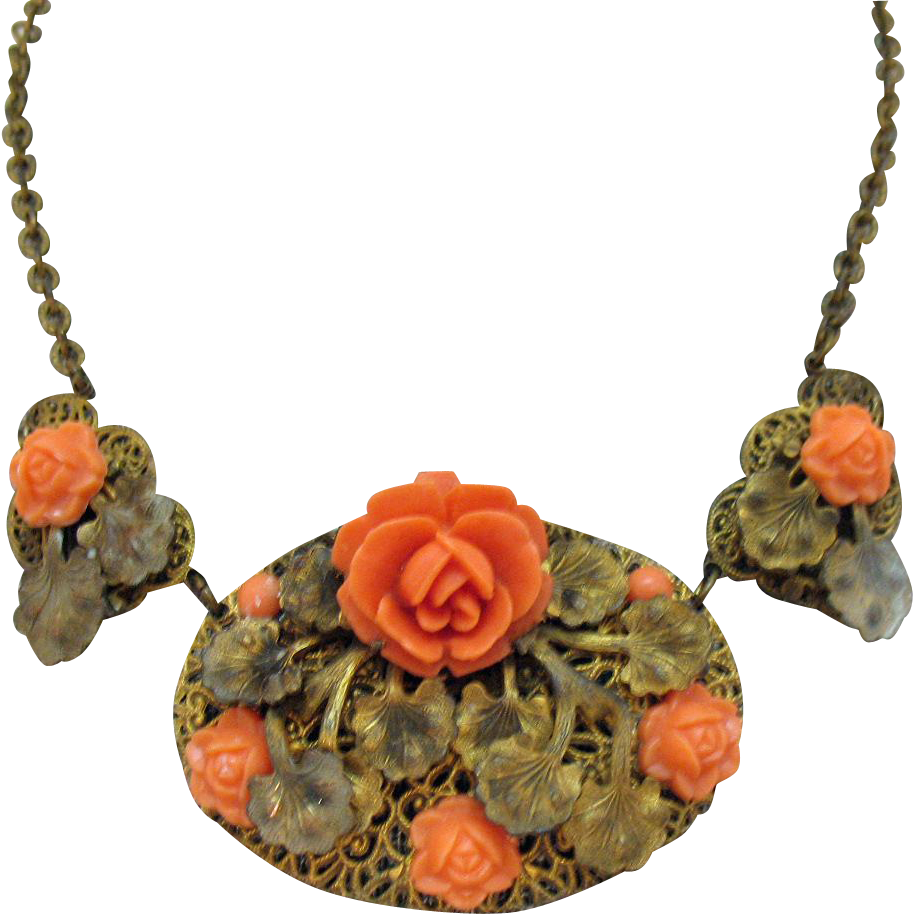 Gorgeous Vintage Celluloid Rose in Faux Coral Brass Necklace