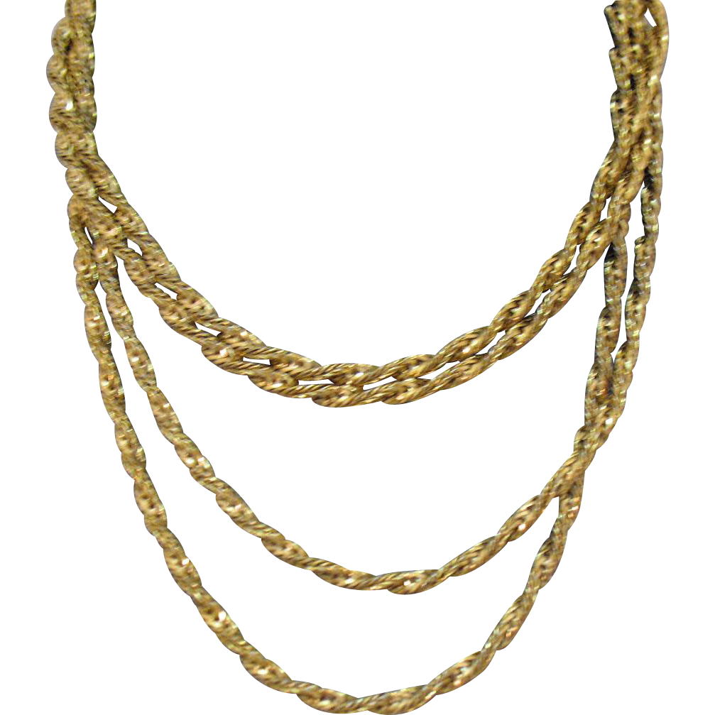 Signed Vintage Napier 12K GF Fancy Golden Chain Necklace 60 Inches Long