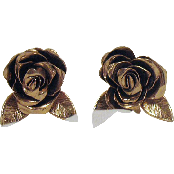 Early Vintage Signed Coro Rose Screw Back Earrings