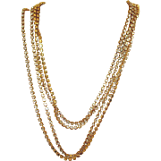 Signed Les Bernard Glorious 60 Inch Long Vintage Rhinestone Necklace