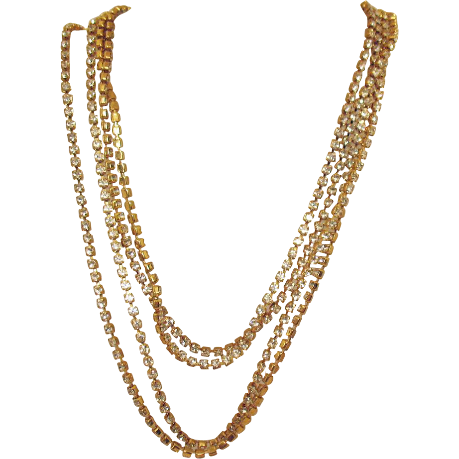 Signed Les Bernard Glorious 60 Inch Long Vintage Rhinestone Necklace