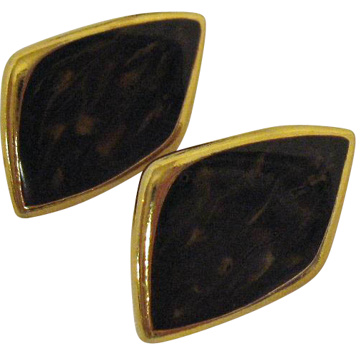 Signed Bergere Vintage Enameled Abstract Lever Style Clip Earrings