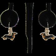 Adorable Vintage Enameled Dachshund Pierced Earrings