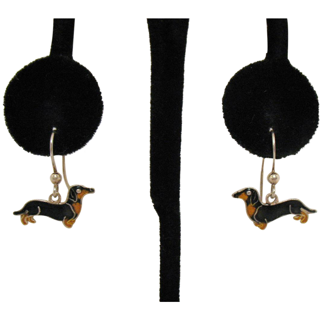 Adorable Vintage Enameled Dachshund Pierced Earrings