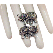 Vintage Sterling Silver Marcasite Elephant Pierced Earrings