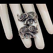 Vintage Sterling Silver Marcasite Elephant Pierced Earrings