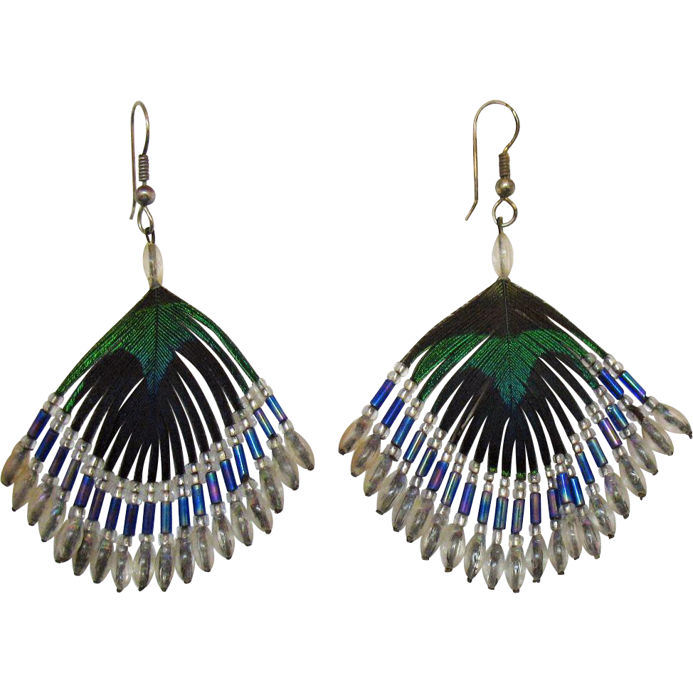 Beautiful Vintage Peacock Feather Beaded Pierced Earrings