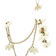 Rare Vintage Signed Napier White Celluloid Elephant Charm Necklace Bracelet Pierced Earrings Set