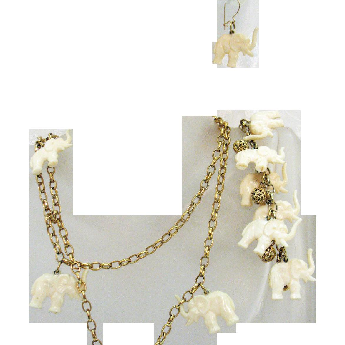 Rare Vintage Signed Napier White Celluloid Elephant Charm Necklace Bracelet Pierced Earrings Set