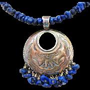 Vintage Signed QT Native American Lapis Lazuli Necklace Sterling Silver Pictograph Pendant
