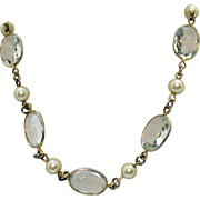 Rare Signed Crown Trifari Vintage Colette Stone Faux Pearl Necklace