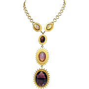 Captivating Signed Alice Caviness Bold Vintage Opal Amethyst Glass Necklace