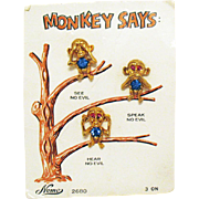 Very Rare Signed Nemo Monkey Says See No Evil Speak No Evil Hear No Evil Clutch Pins Original Card