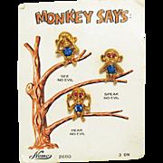 Very Rare Signed Nemo Monkey Says See No Evil Speak No Evil Hear No Evil Clutch Pins Original Card