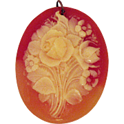 Very Old Vintage Unframed Floral Carved Coral Cameo Pendant