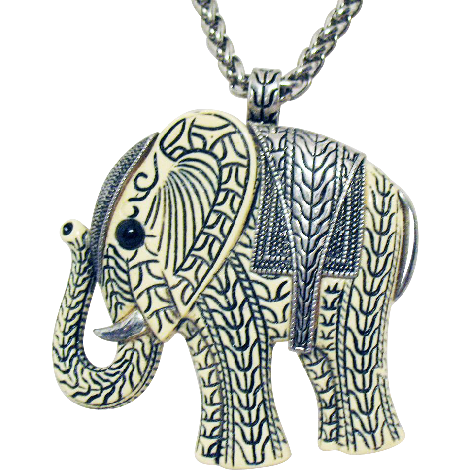Unusual Vintage Resin Carved Elephant Pendant on Silver Rope Chain Necklace