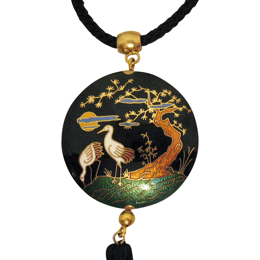 Awesome Vintage Cloisonne Pictorial Pendant on Silver Rope Necklace