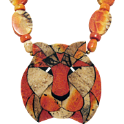Awesome Vintage Laminated Lion Head Necklace
