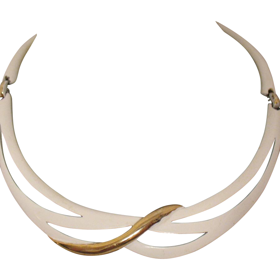 Signed Eisenberg Vintage Enameled Metal Choker Necklace