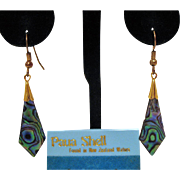 Vintage Carded Paua Shell Pierced Dangle Earrings Taiwan