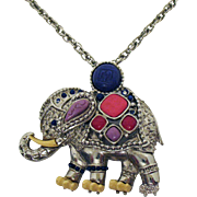 Rare Signed Hattie Carnegie Vintage Jeweled Elephant Pendant Brooch Necklace