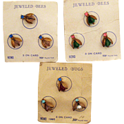 Very Rare Set of Three Carded Jeweled Bees Bugs by Nemo