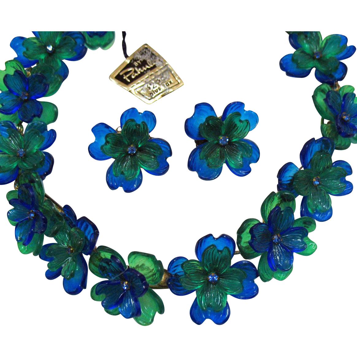 Signed Pakula Vintage Molded Plastic Rhinestone Flower Necklace Earrings Set with Original Tag