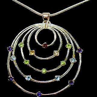 Stunning Vintage Signed GSJ Sterling Silver Gemstone Pendant Necklace
