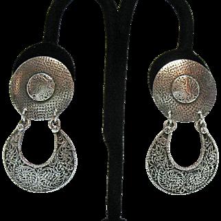 Vintage Signed Marjorie Baer of San Francisco Modernist Sterling Silver Clip Earrings