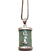 Vintage Sterling Silver Signed DBJ Asian Jade Good Luck Pendant Necklace