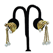 Unusual Mid Century Modern Tassel Faux Pearl Clip Earrings