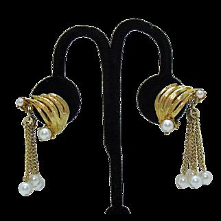 Unusual Mid Century Modern Tassel Faux Pearl Clip Earrings