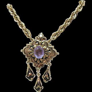Vintage 1940s Amethyst Glass Stone Fleur de Lis Tassel Necklace