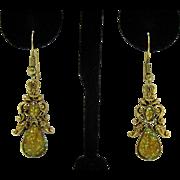 Pretty Vintage Confetti Lucite Dangle Pierced Earrings