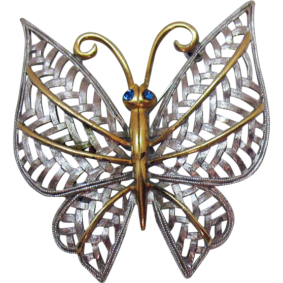 Two Tone Vintage Signed Avon Butterfly Brooch